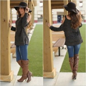 Charcoal Long Sleeve Cold Shoulder Tunic